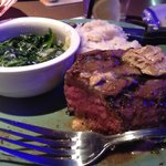 Ale Steak with Mashed Potatoes and Spinach.