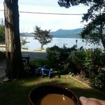 Enjoying a morning coffee and a beautiful view from the deck