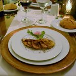 Duck fois gras and pears - one of five courses, Christmas dinner