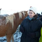 My wife out and about with the Icelandic Horse