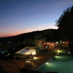 Ramsukh pool and dining area just after sunset