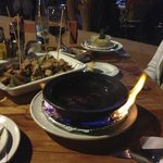 Great fondue, flaming at the table!!!