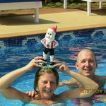 David relaxing in the pool, with Carol and Aidie..