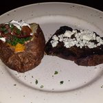 Sirloin with blue cheese topping