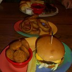 Cheeseburger & Fried Squash, Brisket and Baked beans
