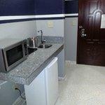 Sink, refrigerator, microwave