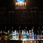 Detrás de la barra, cervezas y bebidas.
