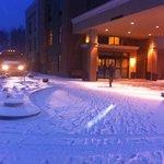 Snowy morning outside a warm hotel!