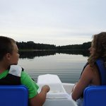 paddle boating on the calm waters