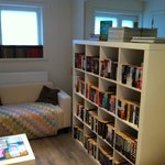 Comfy seating area & books upstairs