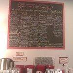 Доска в холле с классификацией кафе по местоположению, типу кухни и уровню цен.