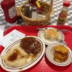 Chicken fried steak, fried green tomatoes and cornbread