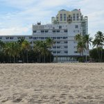 Hotel from the beach, behind .