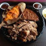 Brisket platter w/ baked beans, sweet potato and slaw