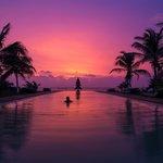 Sunset over infinity pool.
