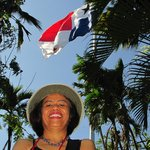 Flag on Ancon Hill as background for portrait