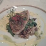 Tuna steak and the veggies was amazing.