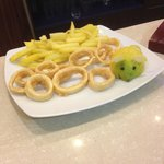 Appetizer of Calamari & French Fries (note the cute lime)