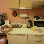 Breakfast (croissants, coffee/milk/juice, yogurt)