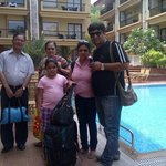Family on pool