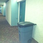 huge trash can right next to our door.