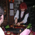 Zdravka carving up our pig in 2007. Amazing night.