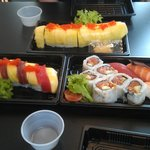 Our dinner: passion roll, mango tango and a lunchbox