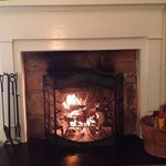 The fireplace in room
