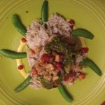 Mahi mahi with snap peas and coconut rice. WONDERFUL!