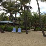 View from the beach back toward the poolside bar