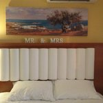 The bed (with our wedding Mr & Mrs sign lol)