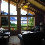 Lounge and entrance area at Kenai Fjords Glacier Lodge