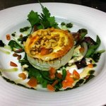 Warm Goats Cheese Salad topped with Pine Nuts! Made with the award winning St.Tola Organic Goats