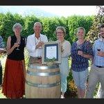 Martiniuk Family receiving LT Governor Award for Pinot Noir