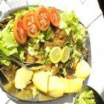 Fresh grilled fish + boiled potato + salad