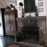 The inviting and much used fireplace