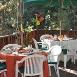 Outdoor sit down wedding dinner. It was wonderful!