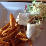 Steak Wrap, great fries and good slaw