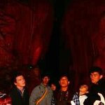 Visitors in the cave