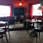 View of the stage at back of cafe/pub, Lady of the Lake Cafe & Pub  |  135 17th St N, Brandon, M