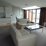 The upstairs loungeroom of the penthouse
