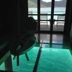 Inside our room's sitting area.  Large glass bottom floor