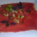 Tuna Crudo w/ capers, olive puree, and shiso pickled jalapeno.