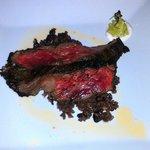 Argentinian (sic.) Churrasco - wagyu skirt steak w/ avocado mousse, and horseradish crema.