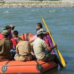 Slow water rafting on manas river
