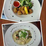 Delicious salt and pepper squid & Thai chicken curry