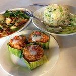 Amok Trei, Cashew Chicken, Pineapple Fried Rice