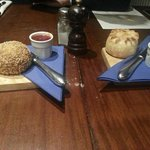 Homemade pork pie and scotch egg.