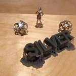 Examples of silver objects printed by 3D printer
