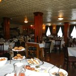 View of the dining room with part of the breakfast buffet